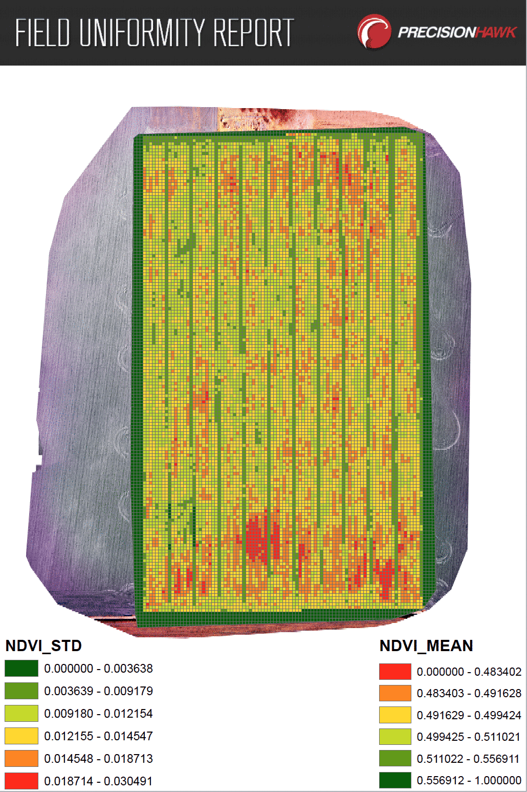 The Field Uniformity Tool makes it possible to quantify plot-level statistics on plant count, height, vigor, leaf area and canopy cover. Drawing data from your other licensed algorithms (Row-Based Plant Counting Tool, Plant Height, Canopy Cover, Leaf Area and Vegetation Indices) , it calculates the maximum, minimum, mean and standard deviation for each plot or user-defined grid cell.